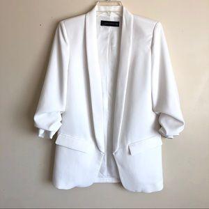 Zara White rolled-up Sleeve Open Front Blazer XS